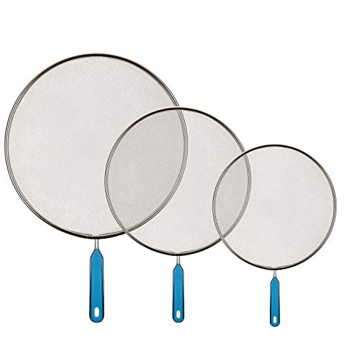 Splatter Screen for Frying Pan - Grease Guards Mesh Pot Oil Cooking Cover Skillet Lid,Blue