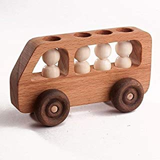 A bus with passengers, Wooden car, Baby toy, Wood toy