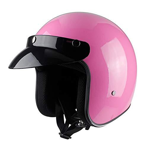 MOPIK Offenes Gesicht Motorradhelm Mopedhelm Jethelm Damen Und Herren Rollerhelm Mopedhelm ECE Genehmigt (Pink, XL)
