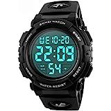 Men 's Large Face Digital Outdoor Sports Waterproof Watch LED Luminous Alarm Stopwatch Simple Army (Black)