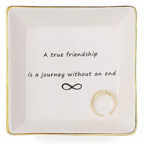 Joycuff Friend Jewelry Dish Home Decor Trinket Dish- Best Friendship Gifts-Cute Classy Fashion Gifts for Birthday Chrismas Women Men