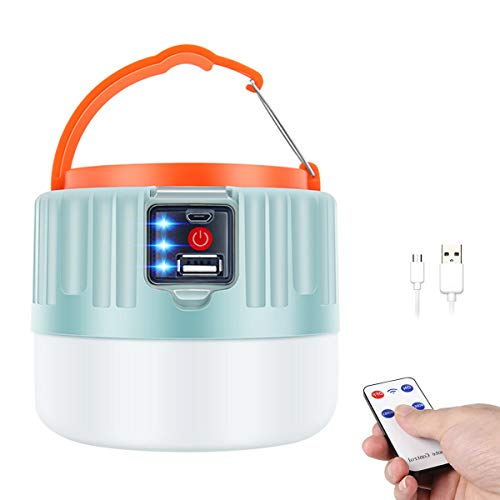 LENUMB Luz de Camping, Led Linterna Recargable USB, Lámpara Solar para Campamento Exterior con Power Bank - Impermeable y Portátil para Emergencias, Pesca, Senderismo, Aire Libre