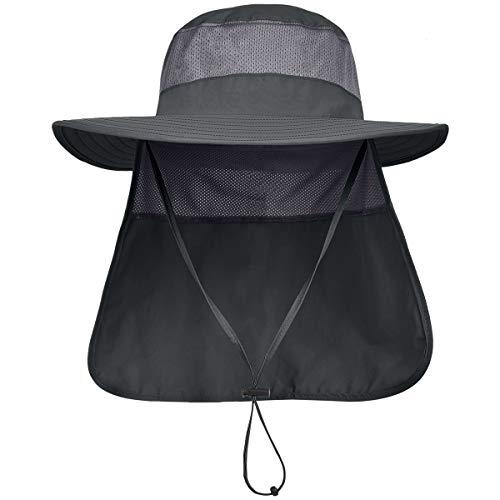 LCZTN Mens UPF 50+ Sun Protection Safari Cap Wide Brim Fishing Hiking Hat with Neck Flap for Garden Work (Dark Grey)