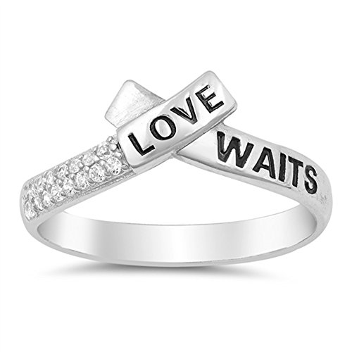 "White CZ""Love Waits"" Word Script Promise Ring Sterling Silver Band Size 6"