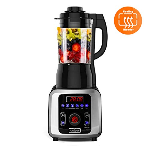 NutriChef NCBLSM150 Digital Electric Countertop Heating Blender - Professional 1.75L Capacity Food Processing Kitchen Blender for Soup Shakes & Smoothies w/ Pulse Blend, Timer, Adjustable Temp/Speed