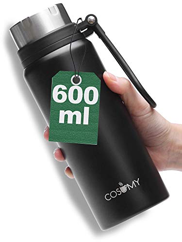 Botella Termica para Llevar Negra - Acero inoxidable - 630 ml - Mantiene el Liquido Caliente - Termo para Cafe