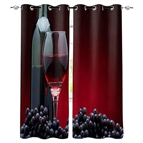 JRLTYU Cortinas Térmicas Aislantes Botella de Vino Tinto Negro Copa de Vino Uvas Cortina Opaca con Ojales Elegante Cortinas de impresión para Oficina Cuarto Reducción de Ruido 110x215cm x2