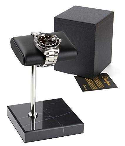 Watch Stand - Handcrafted Leather and Marble Watch Display Stand for both Men's and Women's Wrist Watches - Complete with Gift Box - The Perfect Luxury Gift