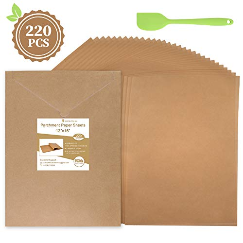 Parchment Paper Sheets, Unbleached Parchment Paper for Baking 12 x 16 Inches Natural Non-Stick Cookie Parchment Paper Sheet Cooking 220 Pcs, Convenient Cardboard Packaging with Oil Scraper Bonus