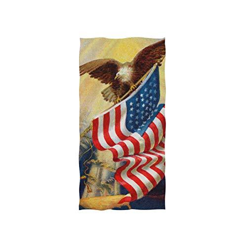 Alaza, toalla de microfibra para gimnasio, diseño de águila y bandera estadounidense, secado rápido, para deportes, fitness, sudor, toalla facial, 38 x 76 cm