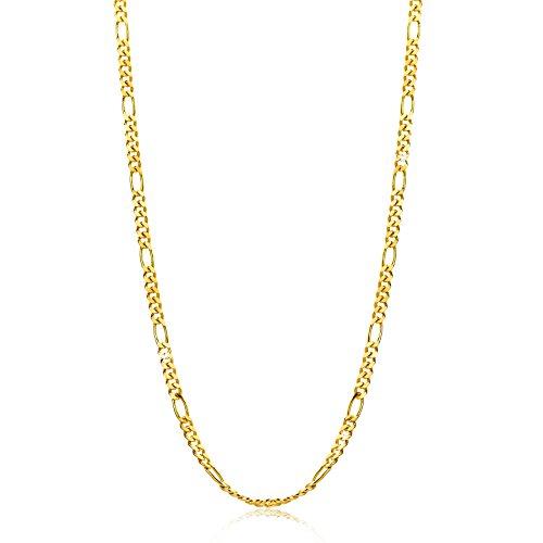 Orovi Damen Figarokette Halskette 8 Karat (333) GelbGold Figaro diamantiert Goldkette 1,5mm breit 45cm lange
