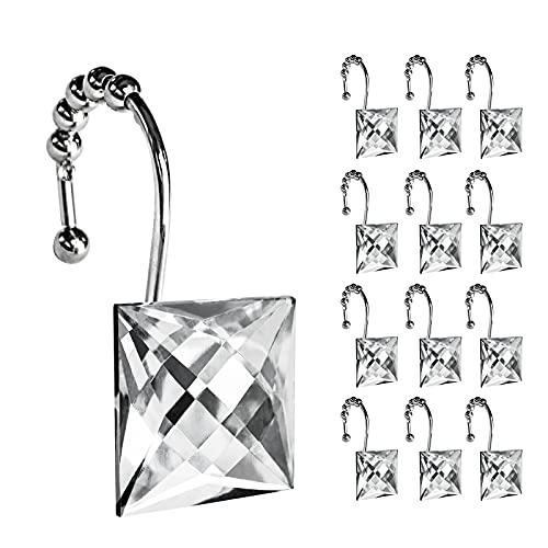 Sunlit Ganchos de cortina de ducha de diseño cuadrado transparente con piedras brillantes y brillantes con bolas deslizantes, a prueba de óxido, anillos de cortina de ducha, 12...