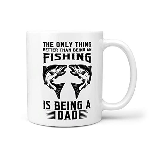 COMBON Shop Coffee The Only Thing Better Than Being A Fishing Is Being A Dad Tazas con mango de cerámica estilo retro – Regalo de amigos blanco 11 oz