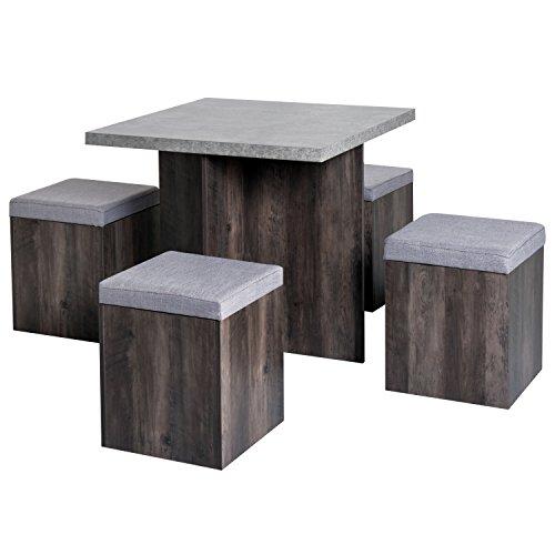 HOMCOM Essgruppe Esstisch Set mit 4 Hockern Sitzgruppe 5-TLG. Esszimmer Grau 78x78 cm
