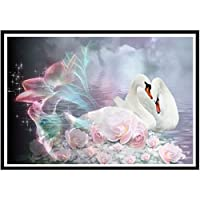 5Dダイヤモンド絵画動物白鳥DIYスティックドリル刺繍クリスマス装飾ダイヤモンドモザイク手作りギフトフルラウンドドリルなしフレーム12x16