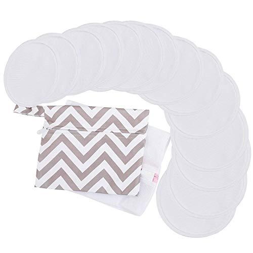 """Riutilizzabile Assorbenti per allattamento per L'allattamento al seno - 4 Strati Bambù Biologico Assorbenti per allattamento - Coppette Assorbilatte Lavabili (Medio 3.9"""", Soft White)"""