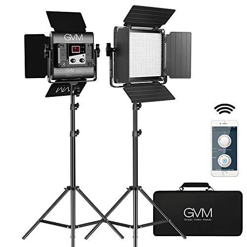 GVM 560 LED Video Light, Dimmable Bi-Color, Photography Lighting with APP Control, Video Lighting Kit for YouTube Outdoor Studio, 2 Packs Led Panel Light, 2300K-6800K, CRI 97+