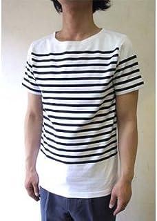 フランスタイプ ボーダーシャツ 半袖 3色 JT043YN ホワイト×ネイビー M 【レプリカ】