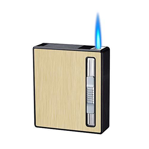 Cigarette Case with Lighter Full Pack 20 Regular Cigarettes Case,Automatic Ejection Cigarette Dispenser Case Box,Torch Lighter Jet Flame Refillable Butane Cigar Lighter,No Gas (Gold)