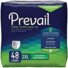 Prevail Incontinence Protective Underwear, Maximum Absorbency, XXL, 12 Count (Pack of 4 (48 Count))