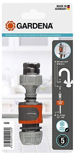 Gardena 18285-20 Schnellanschluss-Satz: Wasserhahnanschluss-Set für den schnellen Anschluss von 13 mm (1/2 Zoll)- und 15 mm (5/8 Zoll)