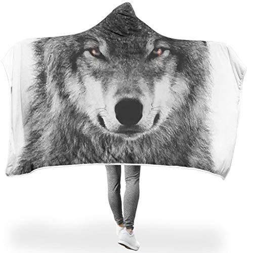LAOAYI Wolf SerieWearable Tapisserie Hooded Throw Wrap Wolf Hypoallergen Microfaser Decken Computer Kapuze Mantel Für Erwachsene Oder Kinder White 150x200cm