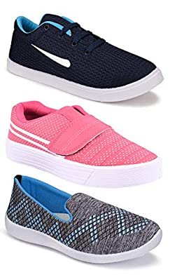 Shoefly Women's (9030-5044-5045) Multicolor Casual Sports Running Shoes (Set of 3 Pair)