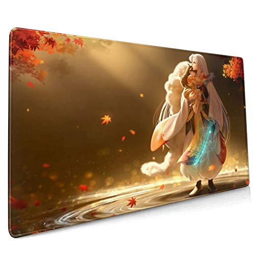 UULIKE Anime Inuyasha Large Gaming Computer Mouse Pad, Extended Large 15x35 Inches (40x90 cm) Non-Slip Rubber Base with Stitched Edges Office Desk Mat