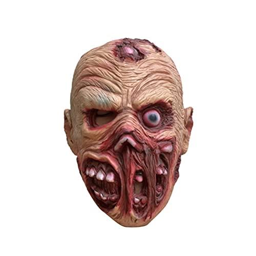 Capa de cabeça de monstro assustadora para caminhar, zumbi morto, assustador, fantasia de Halloween, capacete completo de terror de látex, festa de Halloween, fantasia de Halloween, fantasia de látex, terror para cosplay, festa de carinval, adulto