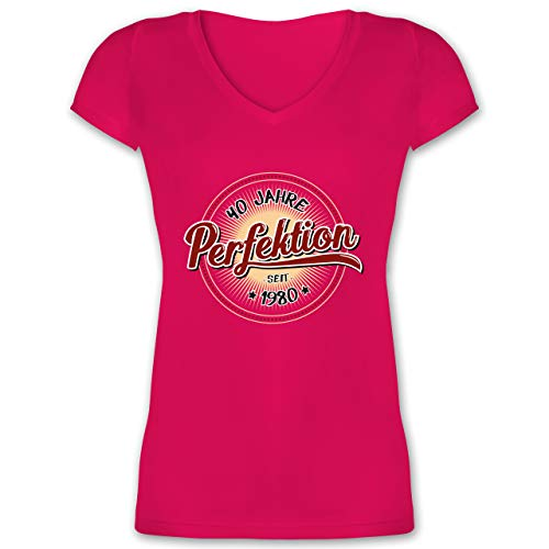 Geburtstag - 40 Jahre Perfektion seit 1980 - M - Fuchsia - Geschenke Frau 40 Geburtstag - XO1525 - Damen T-Shirt mit V-Ausschnitt