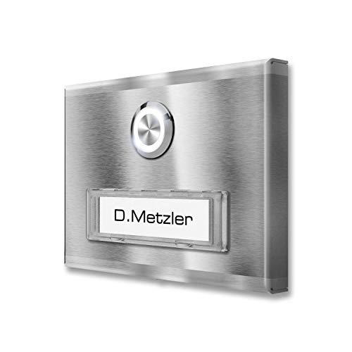 Metzler Aufputz Türklingel aus Edelstahl mit austauschbarem Namensschild (inkl. LED-Beleuchtung, Edelstahl)