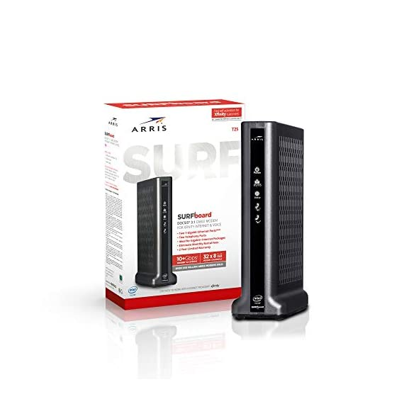 Arris surfboard t25 docsis 3. 1 gigabit cable modem & voice & roku streaming stick+ | hd/4k/hdr streaming device with… 5 product 1: certified to work with xfinity internet & voice service not certified for use with other cable internet service providers product 1: docsis 3 1 cable modem with 32 downstream x 8 upstream docsis 3 0 channels, 2 downstream x 2 upstream ofdm docsis 3 1 channels product 1: two 1-gigabit ethernet ports and 2 telephony ports for xfinity digital voice service