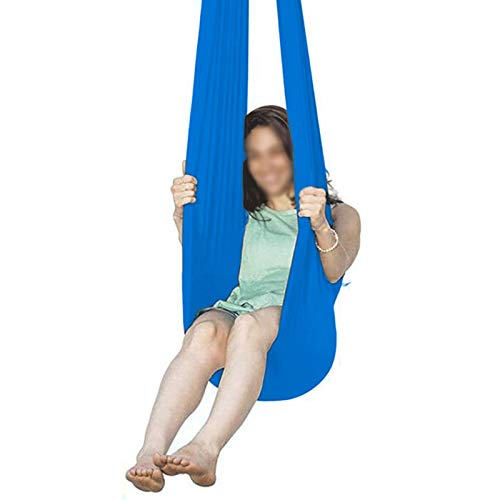 YXYH Therapy Swing Indoor Outdoor + 360° (Hardware Included) for Children with Autism ADHD SPD Asperger for Sensory Integration (Color : Blue, Size : 150x280cm)