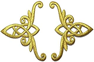 1 Pair Exquisite Flower Gold Lace Vintage Design Fashion DIY Applique Embroidered Sew Iron on Patch p#310