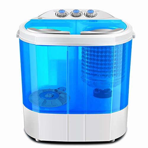 Dawoo Lavadora portátil Daewoo 220V, mini lavadora, lavadora transparente de doble cilindro (azul)
