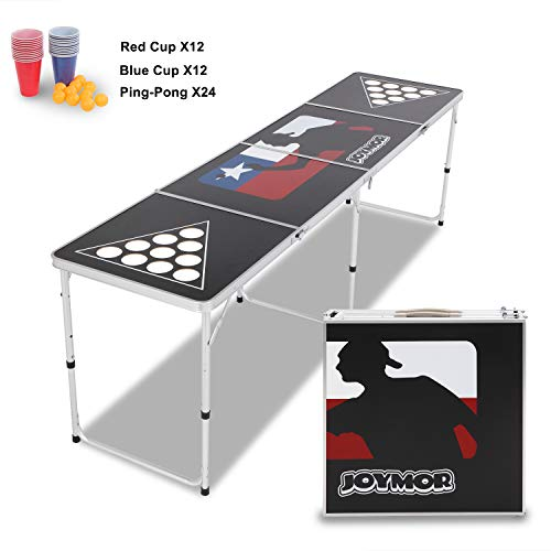 JOYMOR Beer Pong Table 8 FT for Drinking Games, Heavy Duty Foldable Party Pong Tables with 24 Cups &...