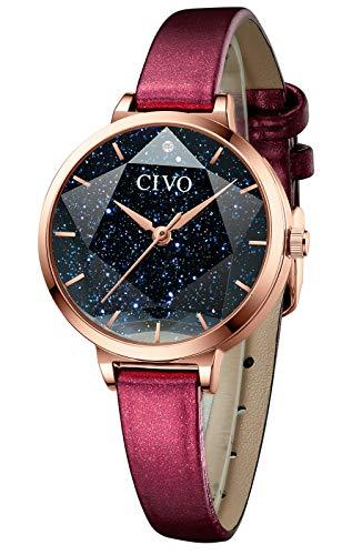 CIVO Relojes De Mujer Relojes de Cuero con diseño Creativo de Cielo Estrellado Relojes de Mujer analógicos a la Moda a Prueba de Agua Elegantes y clásicos para Negocios