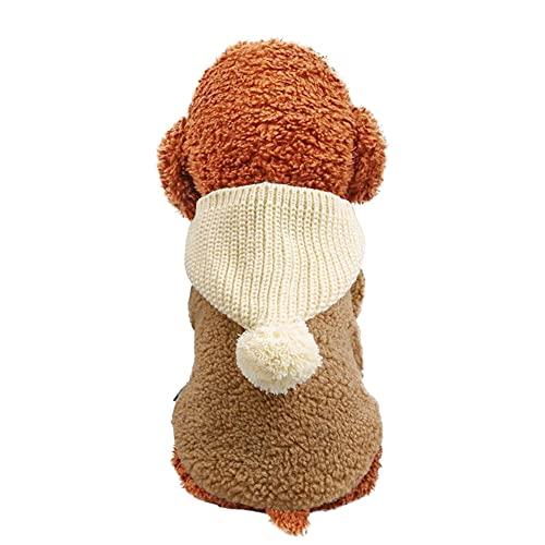 Plus Nao(プラスナオ) ドッグウェア 犬の服 犬服 ペット用品 キャットウェア 猫服 ベスト ボアフリース フード付き ニット ボンボン付き ポ ブラウン L