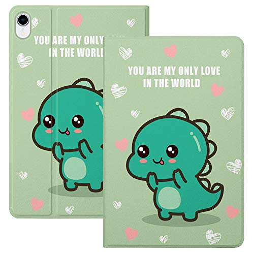 HaoHZ Case for Ipad Air 10.9 Inch 4Th Generation [Support Apple Pencil 2 Charging] Cute Cartoon Case with Trifold Stand, Soft TPU Back Cover Slim Sleeve Shell, Auto Wake/Sleep,Little dinosaur
