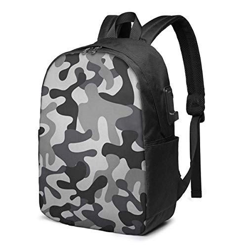 Camouflage Soldier Abstract Laptop Backpack Men Women USB Port Backpack Anti-Theft Water Resistant Travel Laptop Bag 17 Inch
