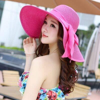 Sombreros de Verano para Mujer, Visera, Sombrero de ala Grande, clásico, con Lazo, Sombrero de Paja Plegable, Gorra de Playa Informal al Aire Libre para Mujer-Rose Red
