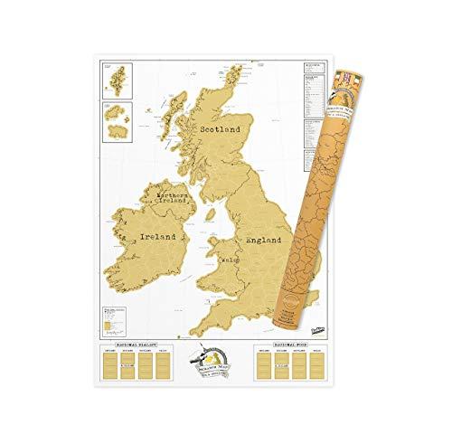 Luckies of London Weltkarte zum Rubbeln - Das Original Scratch Map, Großbritannien und Irland Edition, Groß, 82,5 x 59,4cm