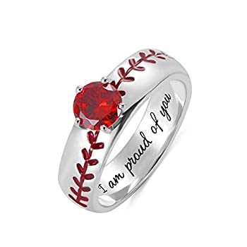 Getname Necklace Personalized American Baseball Sport Softball Band Ring Engraved Baseball Solitaire Birthstone Ring Sterling Silver 925 Wedding Band
