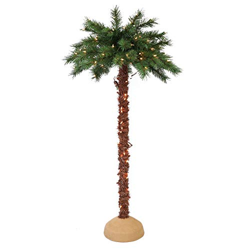 Puleo International 4 Foot Pre-Lit Artificial Palm Tree with 150 UL-Listed Clear Lights