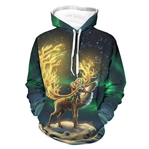 Sudadera con capucha para hombre, diseño de ciervo Aurora Borealis Cielo Nieve Noche con impresión retro de manga larga con bolsillos blanco XL