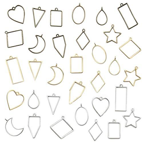 Aweisile 33 piezas colgantes de bisel en blanco marco Geométrico Hueco marco de abalorios moldes de resina hueca colgantes huecos colgantes de molde geométrico hueco para hacer joyas de resina