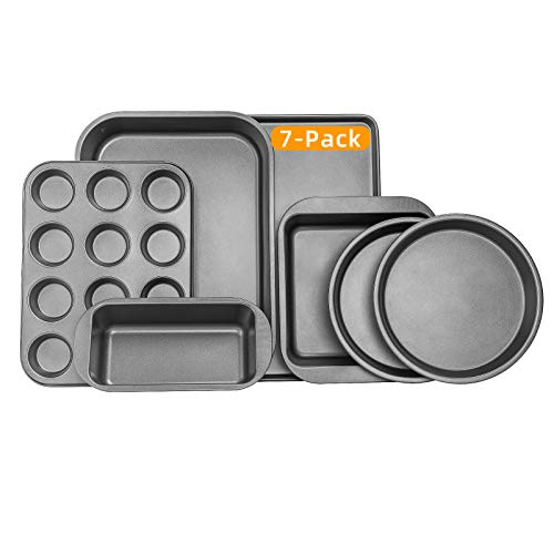 Creatif 7-Piece Carbon Steel Thick Nonstick Bakeware Baking Pan Set, Oven Safe, Cookie Baking Sheets with Wide Handle