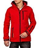 Geographical Norway Bans Production - Chaqueta softshell con capucha desmontable para hombre rojo S