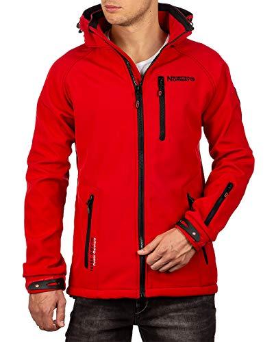 Geographical Norway Bans Production - Chaqueta softshell con capucha desmontable para hombre, rojo, M