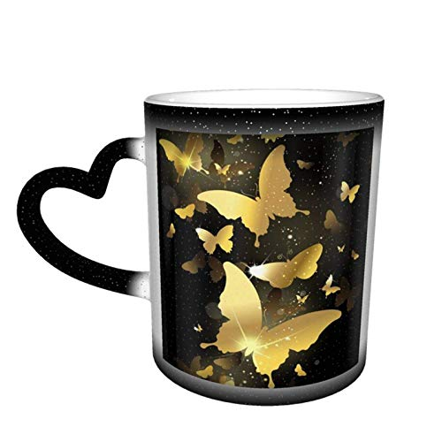Taza cambiante de color personalizado taza de oro mariposa sensible al calor con para la oficina de cumpleaños café cerámica idea de la novedad